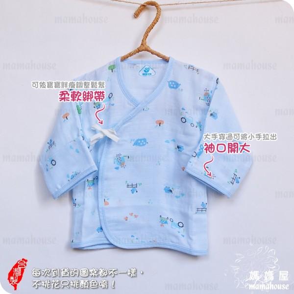 舒適牌摺袖印花紗布衣